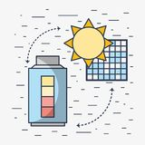 Solar energy with electric battery loaded. Vector illustration Stock Photos