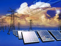 Solar Energy and electrical net Royalty Free Stock Photos