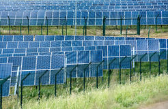 Solar energy farm with photovoltaic panels Royalty Free Stock Photography