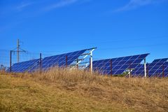 Solar Energy Farm with photovoltaic panels royalty free stock images