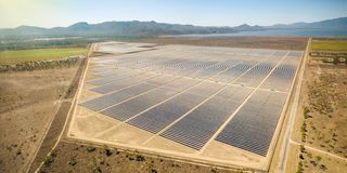 Solar farm in Townsville Queensland stock image