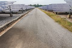 The Solar Energy Fix Type in Thailand with the road in the plant.  Royalty Free Stock Image