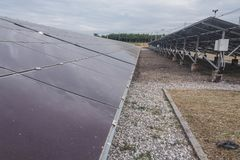 The Solar Energy Fix Type in Thailand, the solar panel was so dirty.  Royalty Free Stock Images