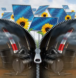 Solar Energy And Fossil Fuel. Concept as a green clean electric fuel with a zipper removing the old industry of oil cans with dripping petroleum and smoke Royalty Free Stock Images