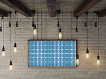 Solar energy frame on brick wall makes electric energy, 3d illustration Stock Photography