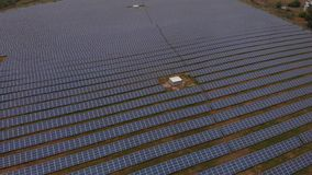 Solar energy generation. Photo-voltaic solar panels absorb sunlight as a source of energy to generate electricity. The most common application of solar energy stock video
