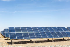 Solar energy on gobi desert Stock Photography