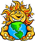 Solar Energy Happy Sun Cartoon holding Earth. Cartoon Illustration of a Happy Smiling Summer Sun holding Earth in its hands Royalty Free Stock Photo