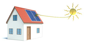 Solar energy. House. Isolated white Stock Photography