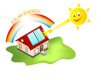 Solar energy house, cdr vector Stock Photos