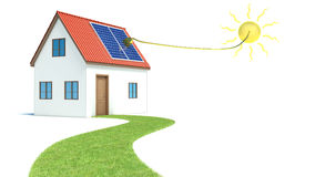 Solar energy. House with green grass.  Royalty Free Stock Image