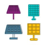 Solar energy icon set, color outline style. Solar energy icon set. Color outline set of solar energy vector icons for web design isolated on white background Stock Images