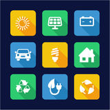 Solar Energy Icons Flat Design. This image is a illustration and can be scaled to any size without loss of resolution Stock Photo