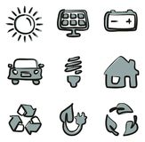 Solar Energy Icons Freehand 2 Color. This image is a illustration and can be scaled to any size without loss of resolution Stock Image