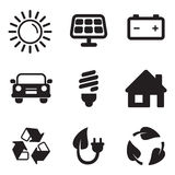 Solar Energy Icons. This image is a vector illustration and can be scaled to any size without loss of resolution Royalty Free Stock Image