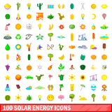 100 solar energy icons set, cartoon style. 100 solar energy icons set in cartoon style for any design vector illustration Royalty Free Stock Images