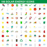 100 solar energy icons set, cartoon style Stock Photo