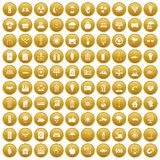 100 solar energy icons set gold. 100 solar energy icons set in gold circle isolated on white vector illustration Stock Images