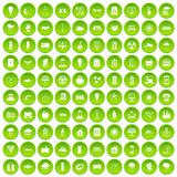 100 solar energy icons set green. 100 solar energy icons set in green circle isolated on white vectr illustration Stock Illustration