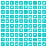 100 solar energy icons set grunge blue Stock Photography