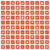 100 solar energy icons set grunge orange. 100 solar energy icons set in grunge style orange color isolated on white background vector illustration Stock Image