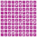 100 solar energy icons set grunge pink. 100 solar energy icons set in grunge style pink color isolated on white background vector illustration Royalty Free Stock Images