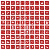 100 solar energy icons set grunge red Stock Images