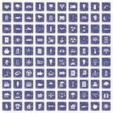 100 solar energy icons set grunge sapphire. 100 solar energy icons set in grunge style sapphire color isolated on white background vector illustration Stock Images