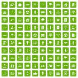 100 solar energy icons set grunge green. 100 solar energy icons set in grunge style green color isolated on white background vector illustration Stock Photo