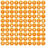 100 solar energy icons set orange. 100 solar energy icons set in orange circle isolated on white vector illustration Vector Illustration