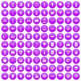 100 solar energy icons set purple. 100 solar energy icons set in purple circle isolated on white vector illustration Vector Illustration