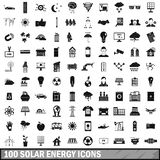 100 solar energy icons set, simple style. 100 solar energy icons set in simple style for any design illustration vector illustration