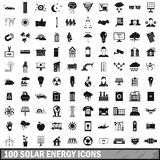 100 solar energy icons set, simple style Royalty Free Stock Photography