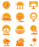 Solar energy icons set. Stock Images