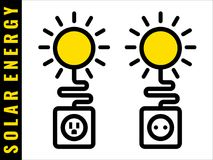 Solar energy icons. The sun supplies electricity to your electric outlet Symbol of renewable ecologically friendly power source B and C type sockets Vector Royalty Free Illustration