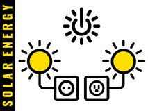 Solar energy icons. The sun supplies electricity to your electric outlet Symbol of renewable ecologically friendly power source B and C type sockets Vector Stock Illustration
