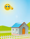 Solar energy. Illustration of a Cartoon sun character over a  house with solar panels on the roof Stock Photography
