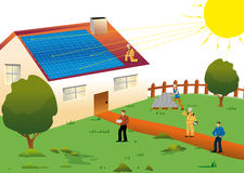 Solar energy. Illustration of a solar house located in a meadow for an environmentally sustainable electric power and renewable Royalty Free Stock Photos