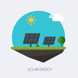 Solar energy. Landscape and industrial factory buildings concept. Vector flat infographic royalty free illustration