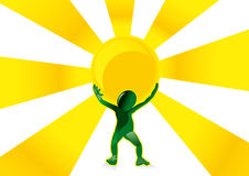 Solar Energy Man Stock Photography