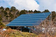 Solar energy panel at Hallasan mountain at Jeju island stock photos