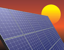 Solar energy panel over sunrise sky Stock Photo