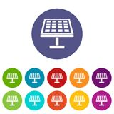 Solar energy panel set icons Royalty Free Stock Images