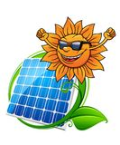 Solar energy panel and sun. Happy hip sun in sunglasses above a blue photovoltaic panel encircled by green leaves, vector illustration Stock Images