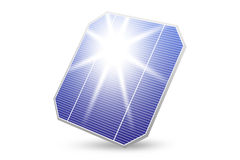 Solar energy panel with sun reflection isolated Stock Image