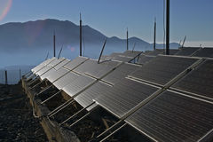Solar energy panels. On the mountain Stock Photo