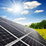 Solar energy panels. Against sunny sky Royalty Free Stock Images