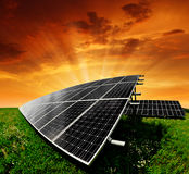 Solar energy panels. In the setting sun Royalty Free Stock Photos