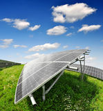 Solar energy panels. Against blue sky - fisheye shot Stock Photos