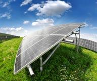 Solar energy panels. Against sunny sky - fisheye shot Stock Photography